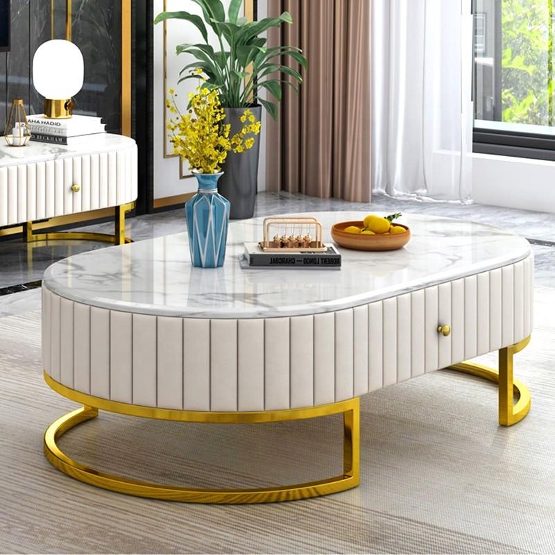 Tavolino in marmo e similpelle con base dorata Dudley