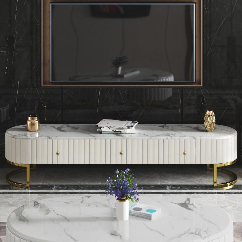 Mueble de TV efecto mármol con patas de polipiel dorada Dudley