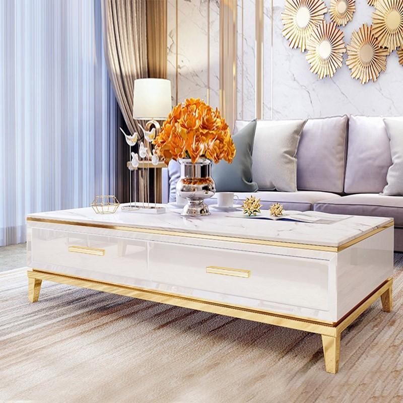 Table base marbre artificiel et couleur or Baron