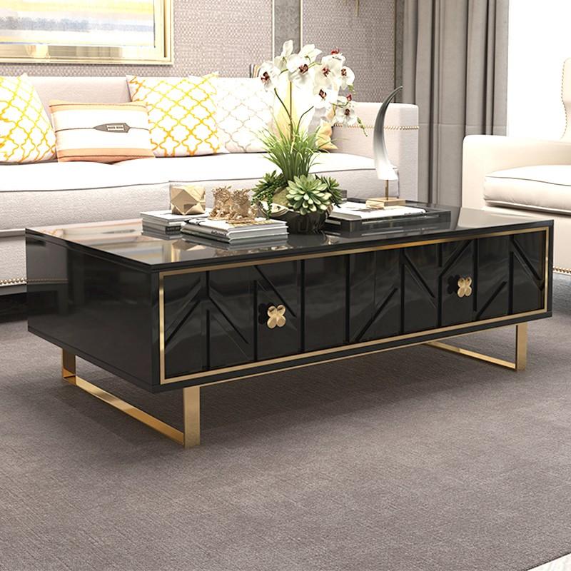 Mesa de centro de diseño negro y dorado Fendy