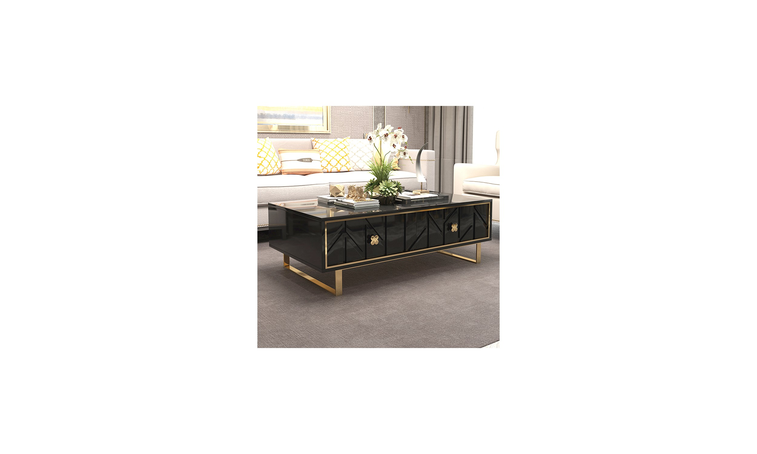 Table basse design couleur noir et or Fendy