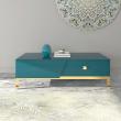 Table basse design couleur bleu et or Azur