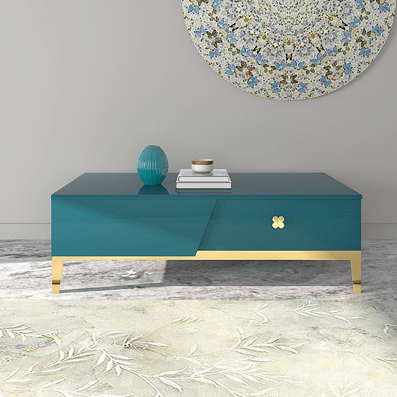 Tavolino di design in blu e oro Azur