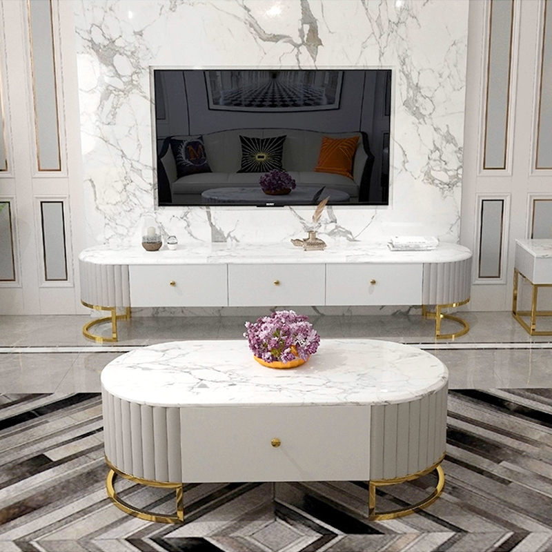 Tavolino Lucia in finta pelle e marmo artificiale