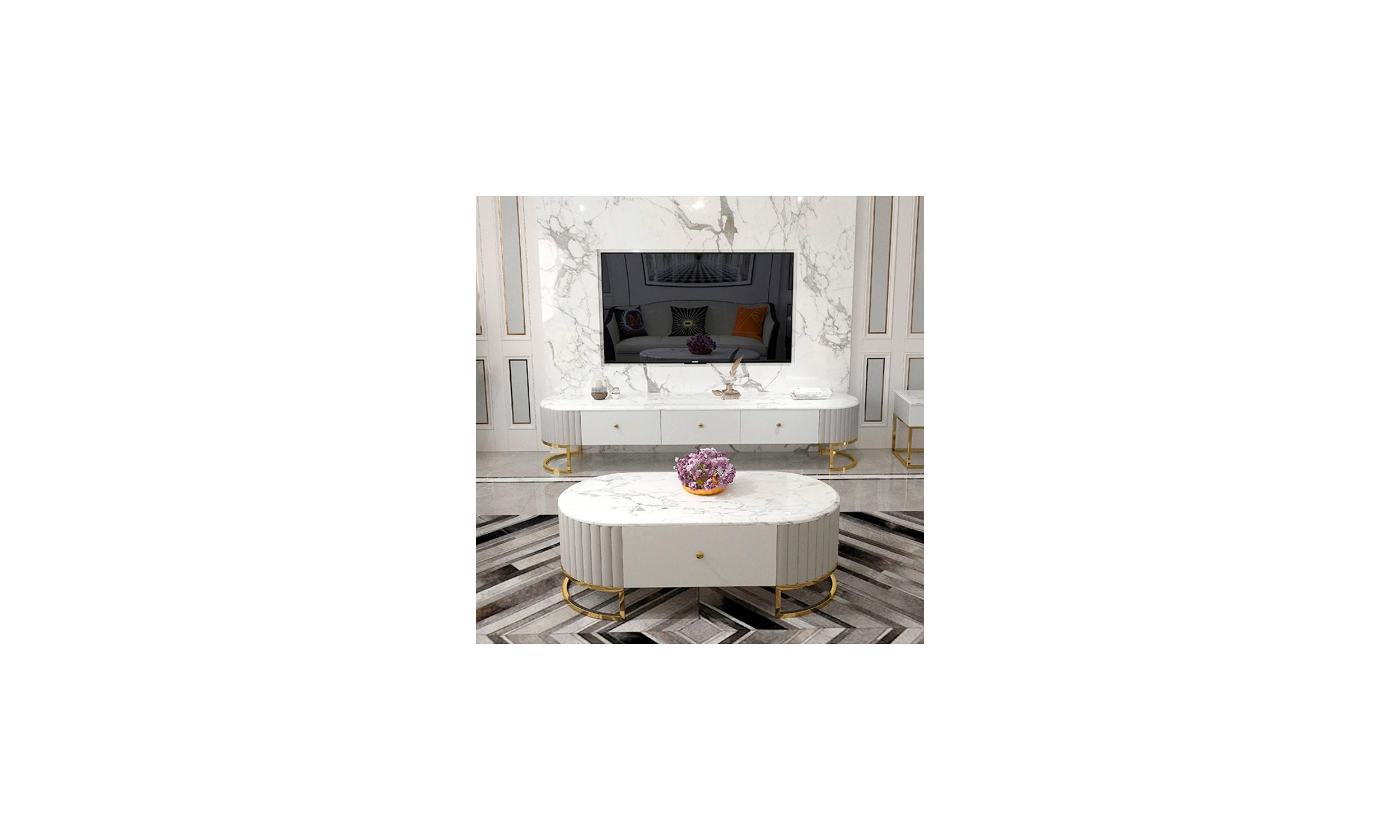 Table basse simili cuir et marbre artificiel Lucia