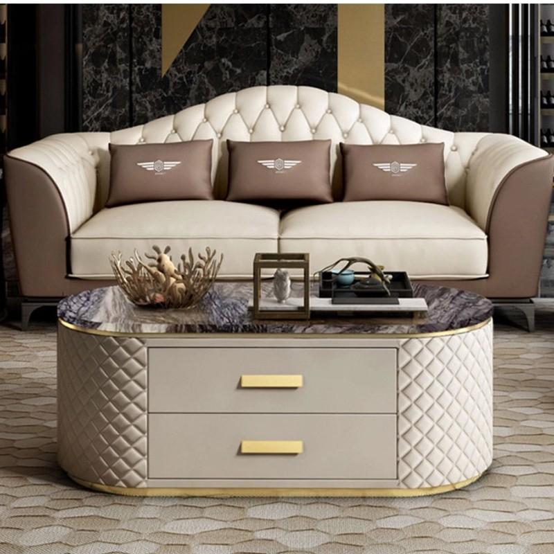 Table basse simili cuire et effet marbre Rufus