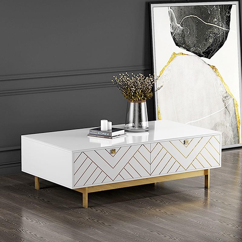 Mesa de centro de diseño con pie de oro blanco Blade