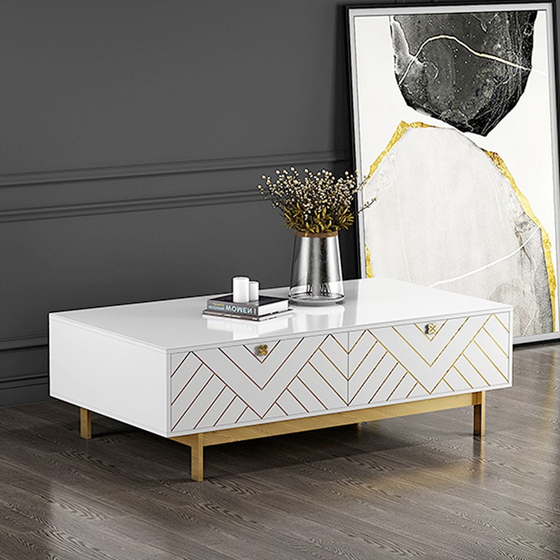 Table basse design blanc pied or Blade