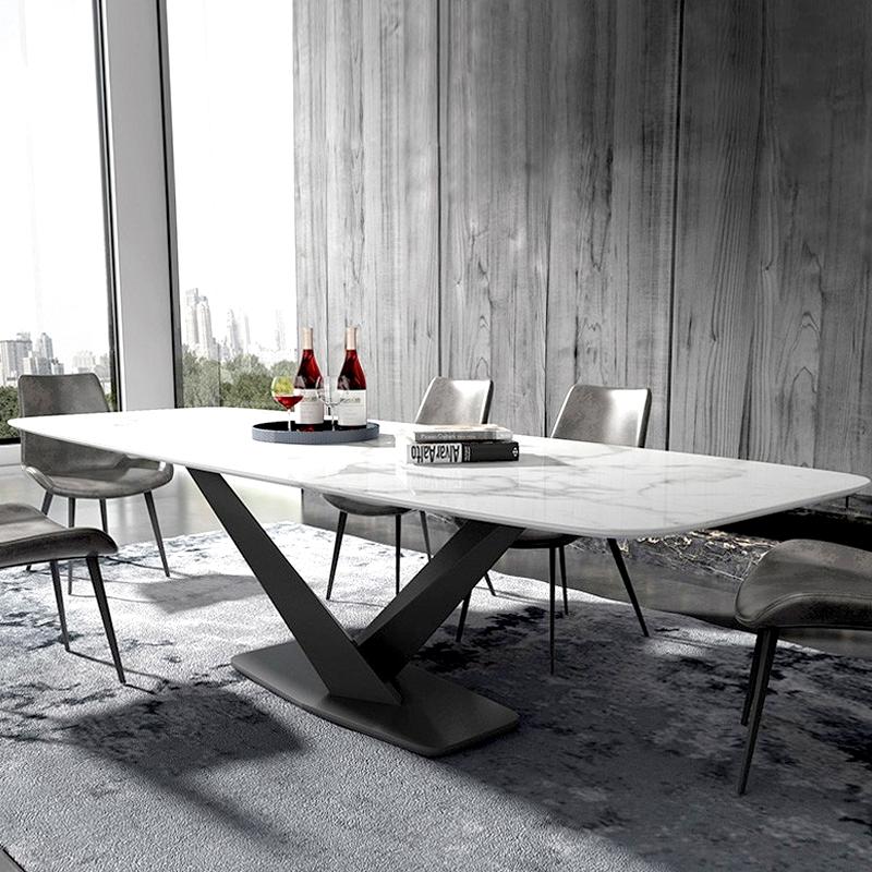 Tavolo da pranzo in marmo artificiale bianco Alto