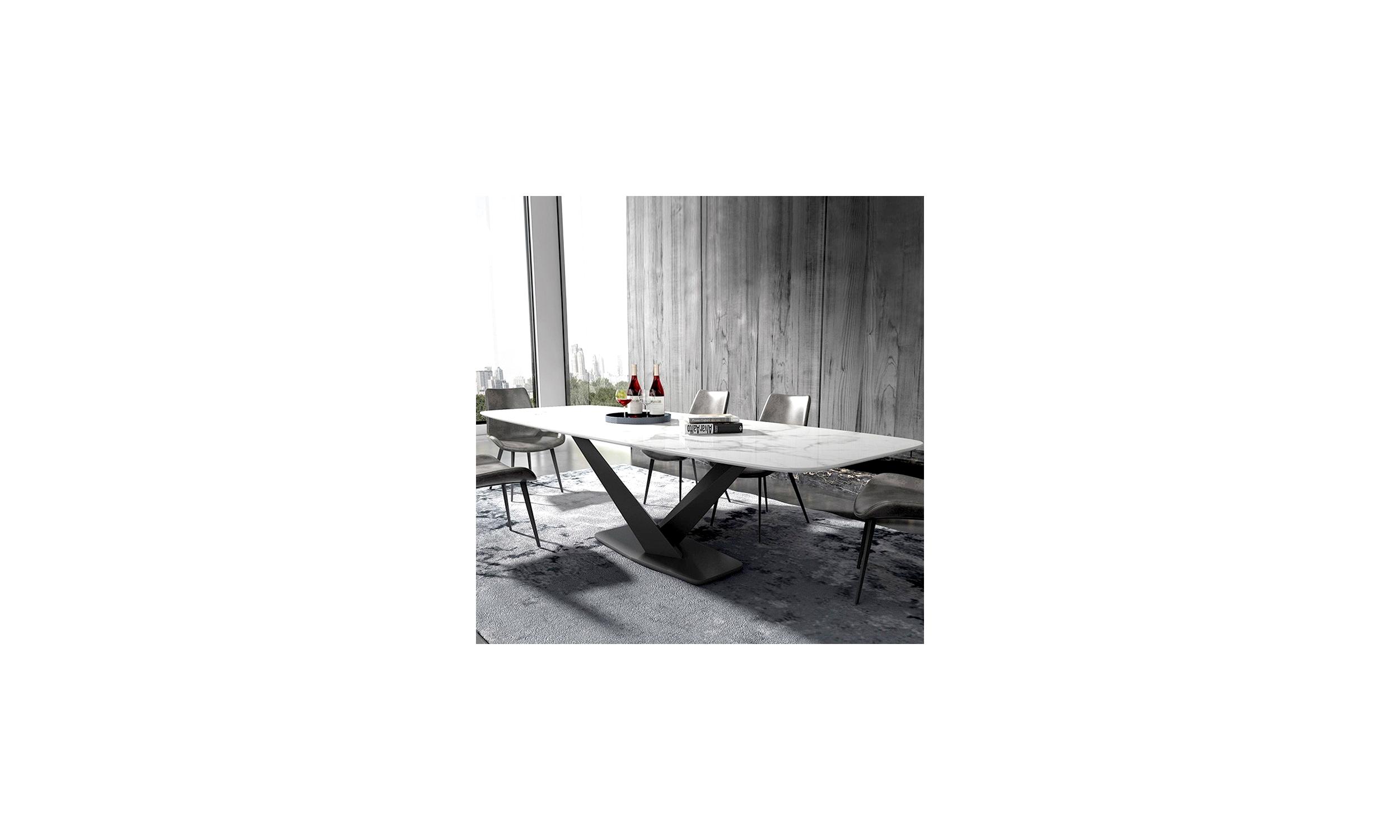 Table à manger marbre artificiel blanc Alto