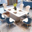 Mesa de comedor de mármol artificial e imitación de cuero RUFUS