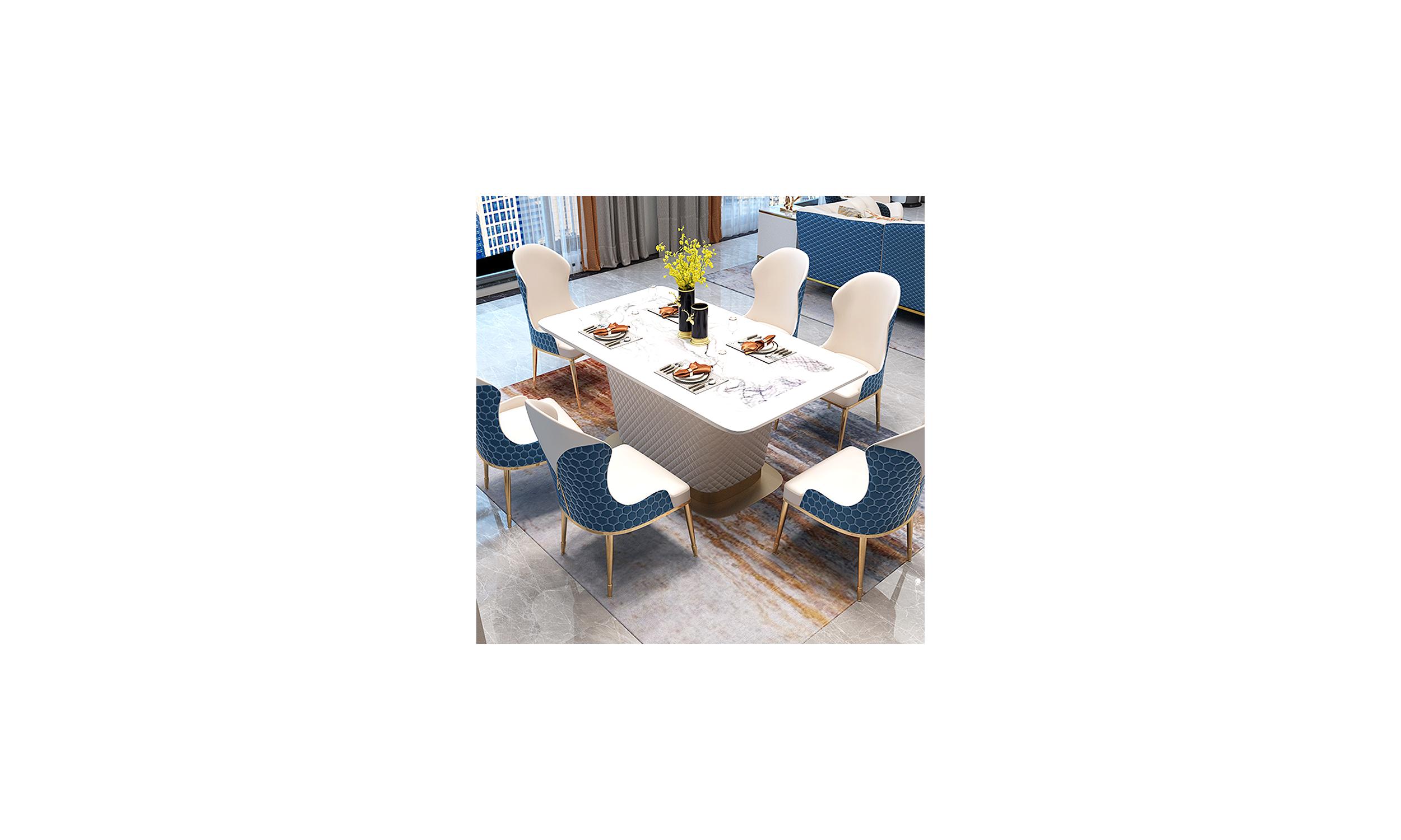 Table à manger marbre artificiel et simili cuir RUFUS