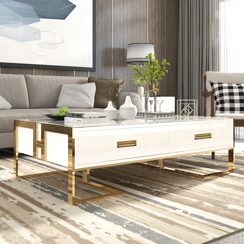 Table basse blanche avec tiroirs base or laqué Luxuria