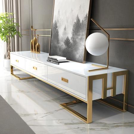 Weißer TV-Ständer mit Schubladen Gold lackierter Sockel Luxuria