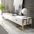 Soporte de TV blanco con cajones base lacada en oro Luxuria