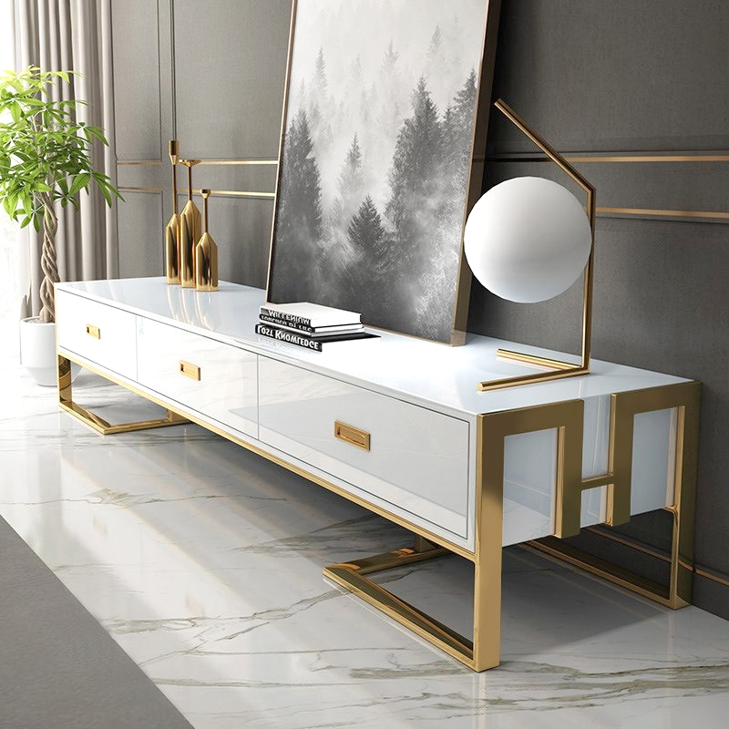 Porta tv bianco con cassetti base laccata oro Luxuria