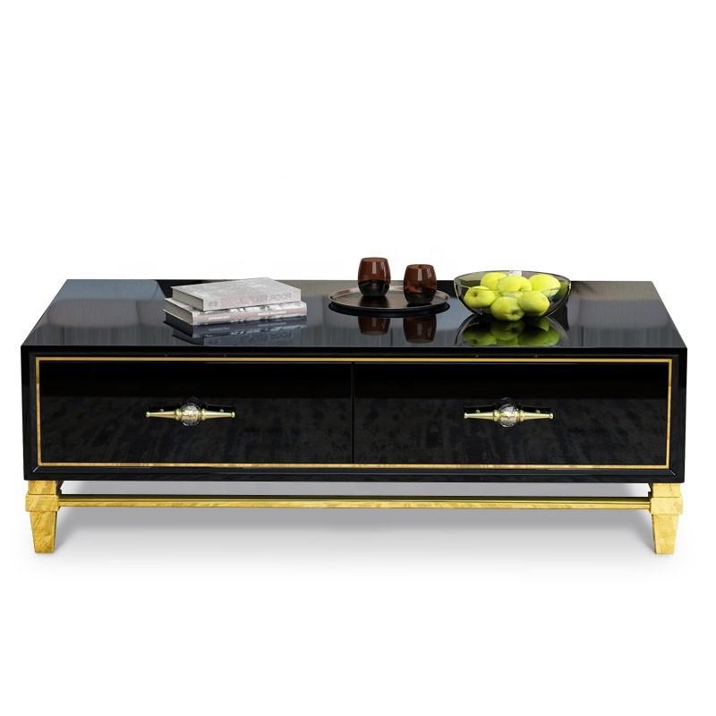 Tavolino di design nero e oro Bury