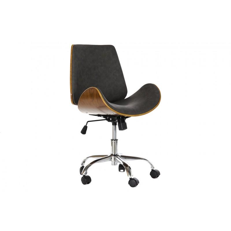 Bürostuhl BALI aus Nussbaumholz und Kunstleder