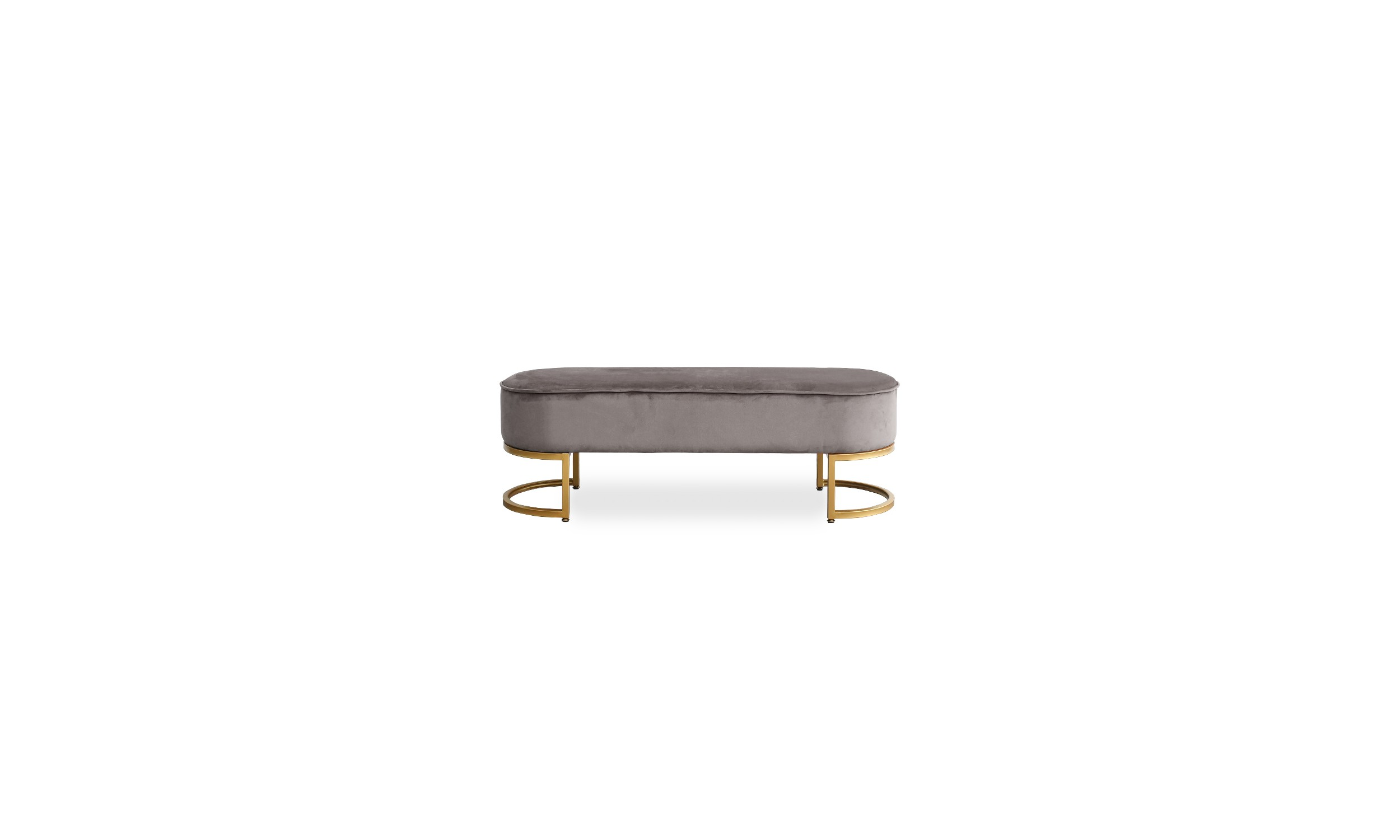 Banquette Velours Taupe Pieds Or VITA
