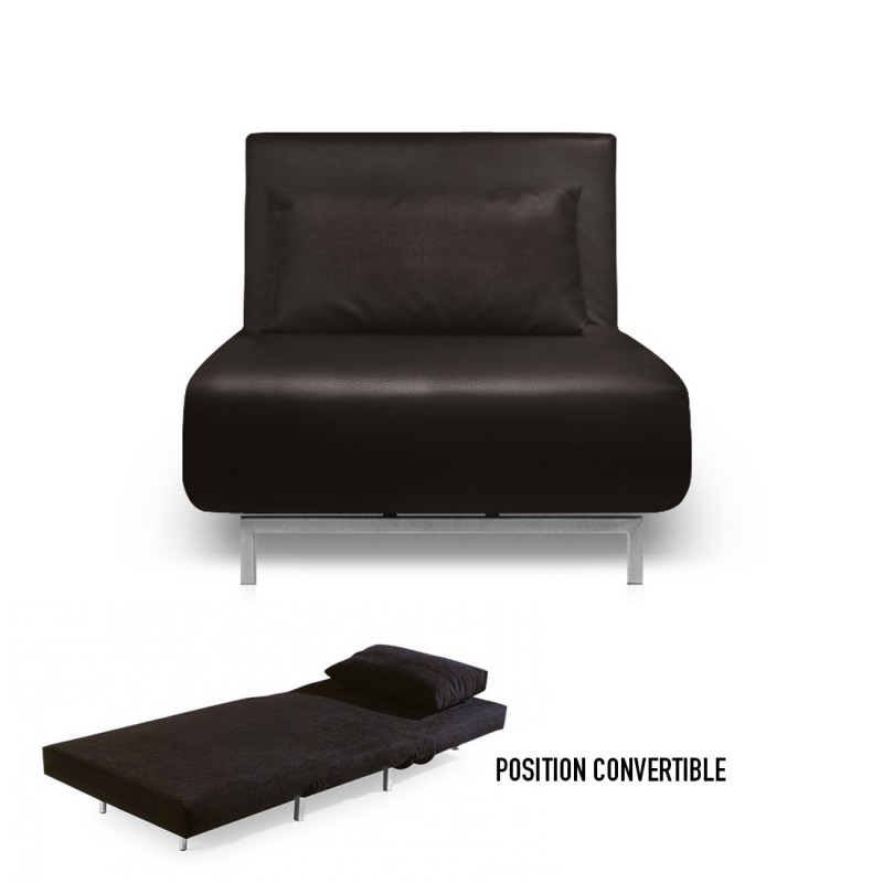 Fauteuil convertible obadia simili cuir - Canape convertible une place ...