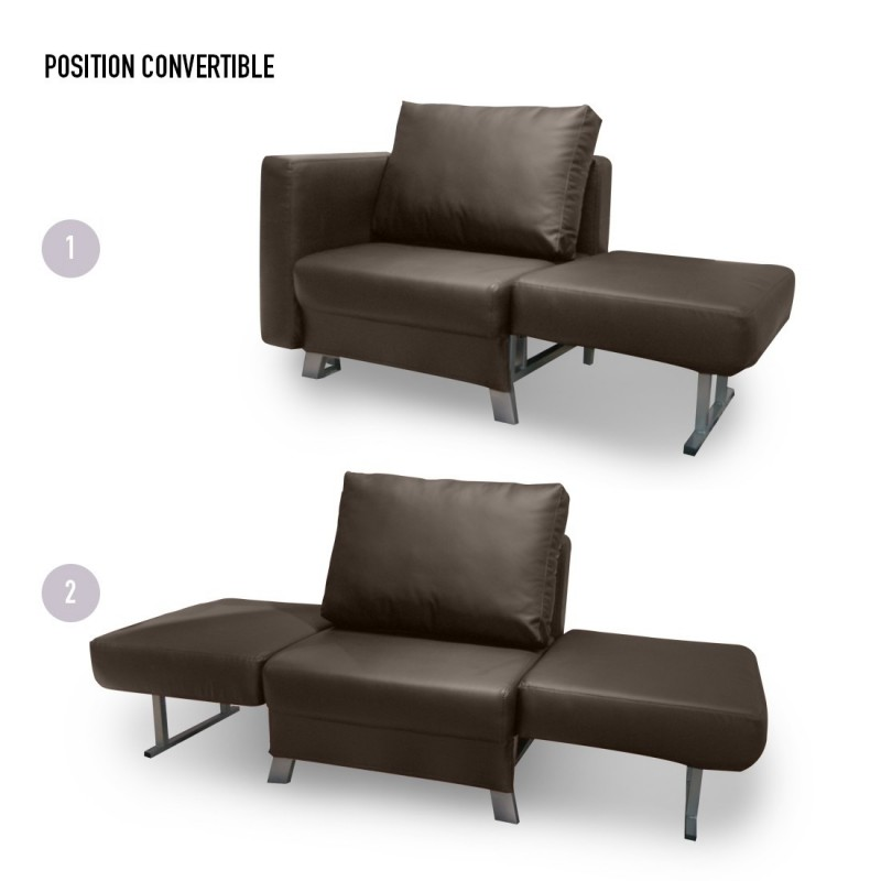 Convertible 1 place solo en simili cuir - Fauteuil 2 places convertible ...