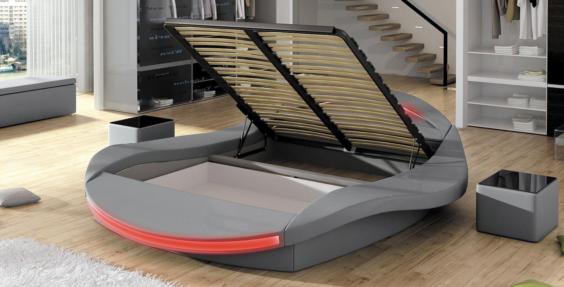 Lit à Led Intégré Design Fiona Avec Sommier Relevable MEUBLER DESIGN - Lit design a led