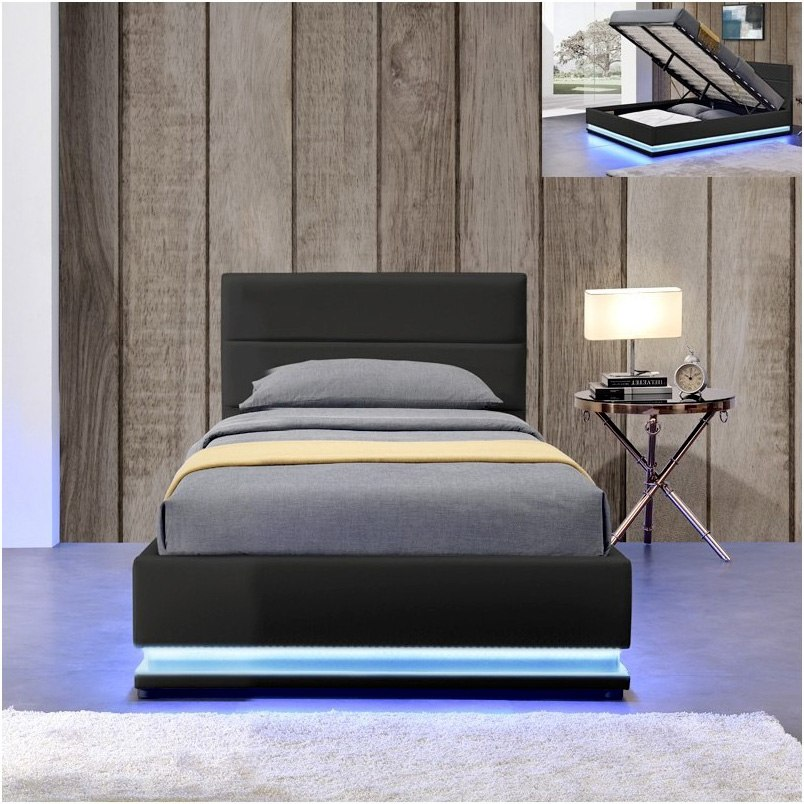 lit ava avec coffre de rangement et led int gr meublerdesign. Black Bedroom Furniture Sets. Home Design Ideas